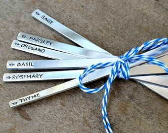 Customized Garden Markers, Hand Stamped Aluminum Herb Markers, Set of 20