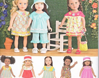 "Simplicity 1136 American Girl 18"" DOLL Casual Summer Clothes Sewing Pattern New UNCUT"
