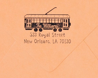 Streetcar Return Address Rubber Stamp Trolly Wedding Gift