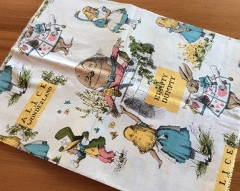 Alice in Wonderland Vintage Fabric Yardage, 2 Yards of Quilting Fabric, Quilters Cotton, Large Scale Print, Nursery Rhymes, Humpty Dumpty