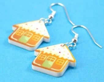 Gingerbread House Earrings - Christmas - Kawaii Holiday Dangle Earrings