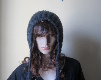 Crochet hood Hat, Gray hood hat, Balaclava, Chunky pixie hood, hooded hat, womens hat, Crochet Hood, Hoodie hat, scoodie, winter accessories