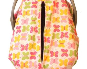 Unique Fitted Carseat Sweet butterfly with pink Dimple Dot Minky.