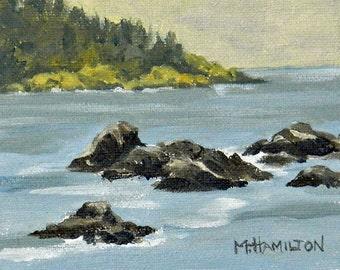 Maine Art Rugged Coast, Miniature Sea Marine Art, Framed Acrylic on Canvas. Nautical Coastal Landscape, Woodland Small Format Art