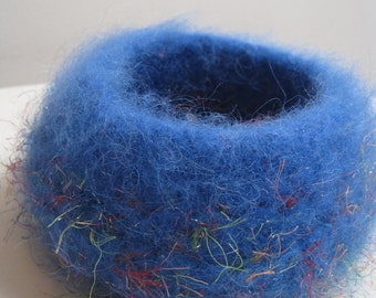 "blue felted bowl, blue felt nest, blue crocheted bowl, blue felted basket, blue crochet basket  ""nursery"""