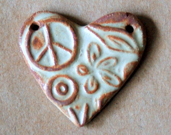 Sweet Ceramic  Heart Pendant Bead with Peace Sign and Flowers