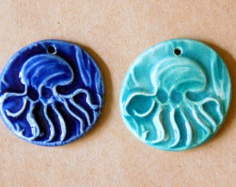 2 Handmade Ceramic Beads - Octopus Beads - Big and Bold Stoneware Octopus