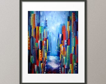 Colorful Art Print Cityscape Print Skyline Print Architecture Buildings Street Modern Abstract Contemporary Elena