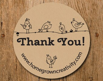 Customized Stickers - Thank You Stickers Modern Birds on Line - Labels - Wedding - Birthday Party - Thank You Stickers
