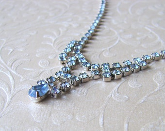 Something Blue Rhinestone Necklace 1950s Vintage Costume Jewelry Ballroom Pageant Wedding Bridal Formal Prom Accessory 50s REPAIRED