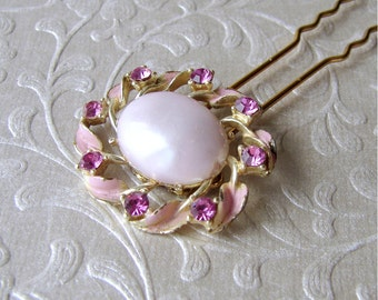 Pretty In Pink Rhinestone Enamel Hairpin Vintage Jewelry Hair Comb Prom Hairpiece Bohemian Chic Bridesmaid Fuchsia Pearl Ornament Accessory