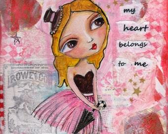 Big eyed Art, Blonde Girl, Valentine, heart, Children's Art, inspirational print, 8 x 10 Print