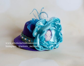 Purple Mini Top Hat with Aqua Handmade Flowers and Feathers - Photo Prop, Photography Prop, Baby Hat, Party Hat, Cake Smash
