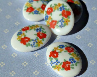 Vintage Japanese 14x10mm Glass Cabochons with Colorful Flower Detail (53-3F-6)