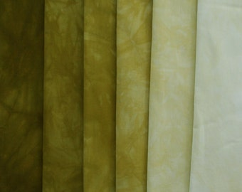 muted Gold GREEN Shades - hand dyed Fabric - 6 pc Fat Quarter Gradation Bundle - Tuscan Rose MGG880