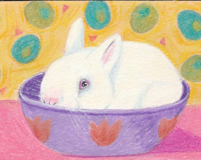 Bunny in a Bowl Spring greeting card blank