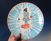 Turquoise and Orange DachshundGirl with gold crown and butterflies Plate