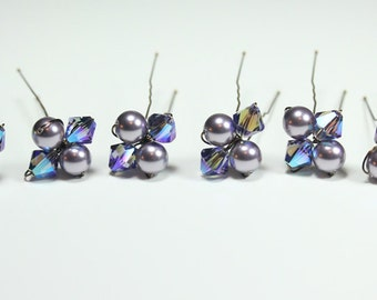 6 Purple Hairpin Set - Plum, Eggplant, Violet, Grape, Amethyst, Pearl crystals, mulberry, concord, African violet, orchid