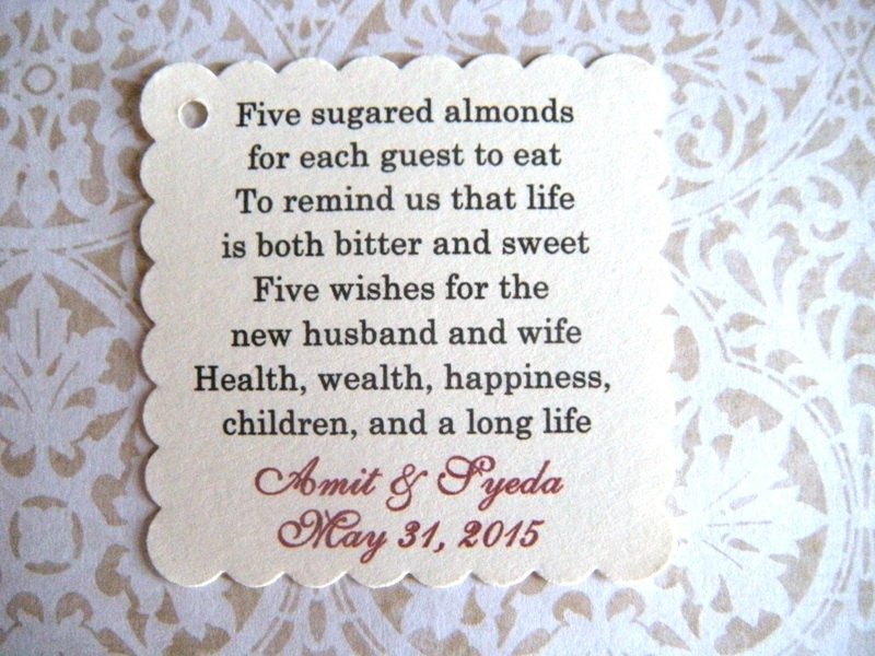 400 Custom Printed Jordan Almond Wedding Favor By WeddingsBySusan
