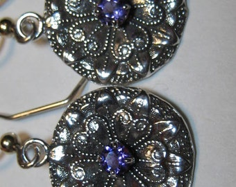 Natural Amethyst and Sterling Silver earrings  .......   e770