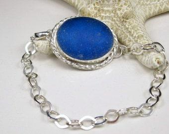 Sea Glass Bezel Bracelet Deep Blue Aqua Turquoise Sea Glass Necklace Sea Glass Jewelry - B-196
