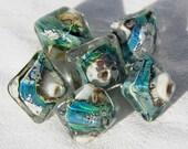6 Large Silvered Ocean Crystals,  organic blue green handmade diamond glass beads, lampwork beads by Beadfairy Lampwork, SRA