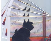 4 x Scottish Terrier dog greeting cards Aberdeen terrier Scottie waiting for snow always hopeful from watercolor painting by Susan Alison
