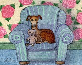 Greyhound whippet dog teddy bear 8x10 print - watching television