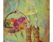 Sweet Boots - Cowgirl and Flowers Folk Art Print - by Heather Renaux-unframed