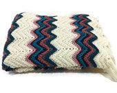 Crocheted Afghan Ripple Chevron/ Jewel Tones / Southwest