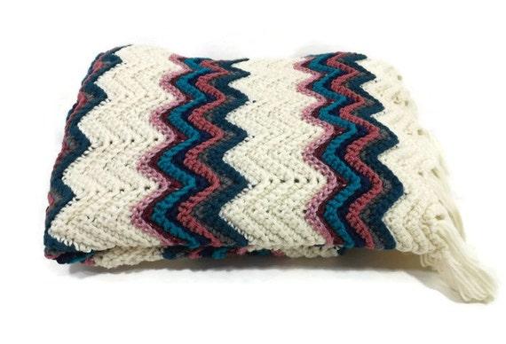 Crocheted Afghan Ripple Chevron/ Jewel Tones / Southwest