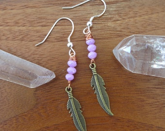 Orchid Purple Feather Mixed Metal Earrings - Sterling Silver Hooks - With Brass and Copper - Bohemian Free Spirit Womens Jewelry
