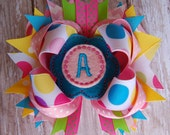 Personalized Custom Embroidered Initial Monogram Polka Dot Boutique Bow - Toddler Bow - Baby Bow - Headband Bows