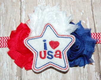 Embroidered I Love USA Red White and Blue Chiffon Rose Boutique Headband Newborn Baby