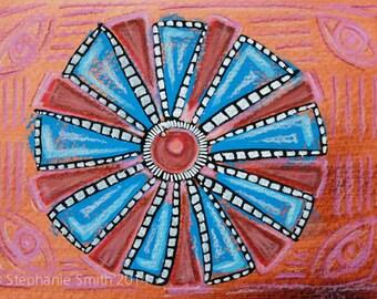 Original Mixed Media Mandala Painting: Seeing Wheel