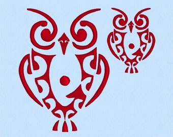 Owl Tribal Tattoo machine embroidery design file - 2 sizes