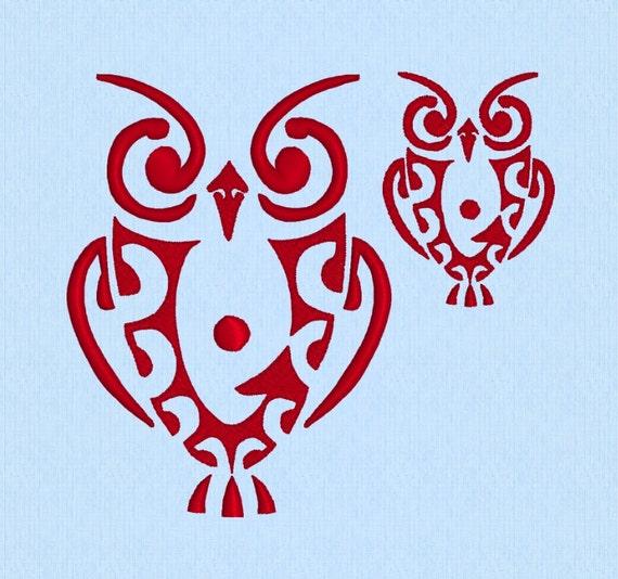 owl tribal tattoo machine embroidery design file 2 sizes. Black Bedroom Furniture Sets. Home Design Ideas