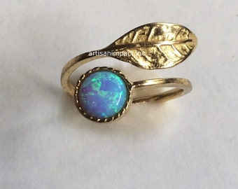 Adjustable ring, Thin ring, leaf ring, Golden brass ring, opal ring, gemstone ring, stack ring, delicate ring - Gone with the wind RK2062-1