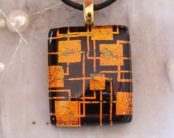 Dichroic Glass Pendant, Fused Necklace, Gold, Black, Necklace Included, A1