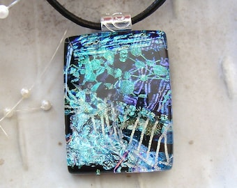 LARGE, Fused Dichroic Glass Pendant, Necklace, Glass Jewelry, Blue, Green, Black, Aqua, Necklace Included, One of a Kind