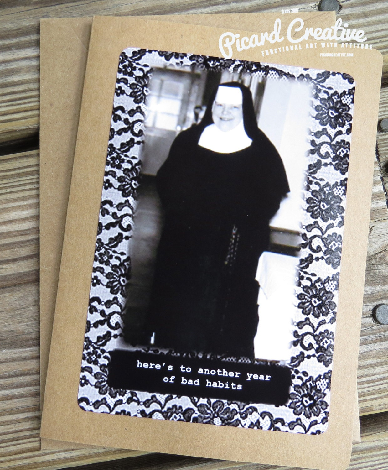 Funny Birthday Card.Vintage Funny Nun Here Is To Another