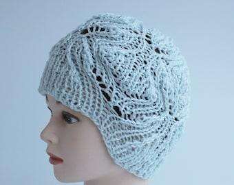 SALE-Blue knitted hat , handmade women hat