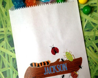 Bug favor bags, Bug Candy Bags, Bugs on a log, Bug Favor bags, Birthday party, Sweets, Treats