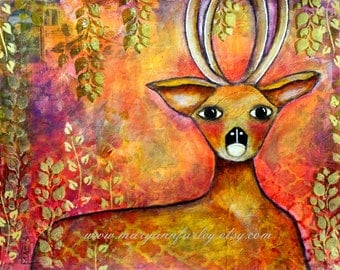 Deer Art Print, Stag Animal, Whimsical Art, Woodland Art, Mixed Media, Trees, 8 x 10 or 5 x 6.5, Green Pink Orange