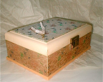 Brocade Covered Jewelry Box with Locking Key - Vintage Early 50s Celluloid and Fabric with Gold Thread - Turquoise Velvet Lined -