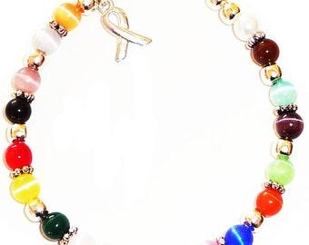 18 Colors Packaged Cancer Awareness Bracelet- 6mm