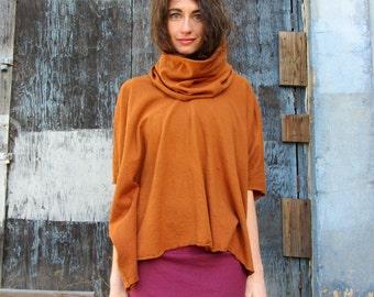 Organic Chunky Cowl Kaftan Shirt (light hemp/organic cotton knit) - organic kaftan