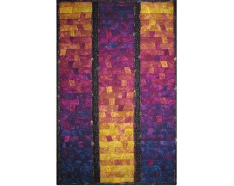 Large Abstract Art Quilt, Fabric Wall Hanging, Fiber Art, Sunrise or Sunset Celebration