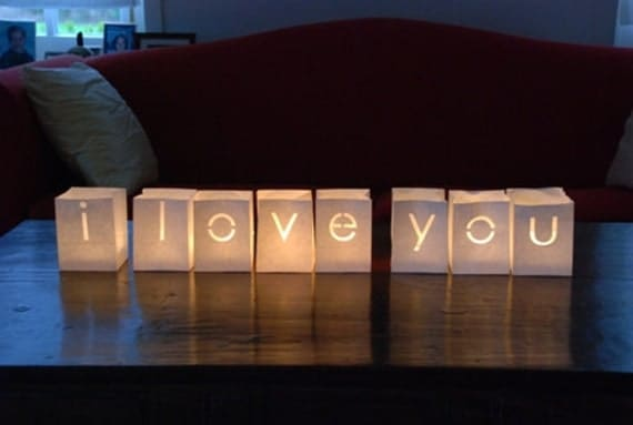 Wedding table decor, I LOVE YOU, Valentines day decor, valentines gift, wedding luminaries, luminaries, candle bags, wedding decoration