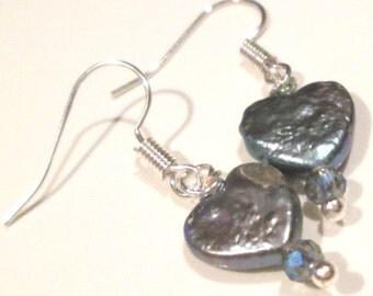 petite blue heart shaped pearl pierced dangle hand made wire wrapped earrings